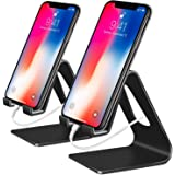 Phone Stand, 2 Pack Cell Phone Stand Universal Mobile Phone Stand Desktop Cradle Holder for Tablet Smartphone Dock Compatible iPhone XR XS Max X 8 7 6 6s Plus 5s 5c 4s, Accessories, Desk-Black