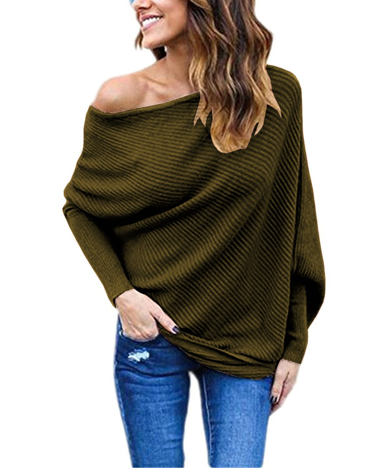 Womens Off The Shoulder Tops Long Batwing Sleeve Loose Ribbed Sweater Shirts