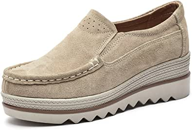 Camfosy kvinnor loafer platta skor mocka skor, dam glidsäker plattform lätta bekväma skor kil promenad låg topp kil ledig promenad vår sommar höst