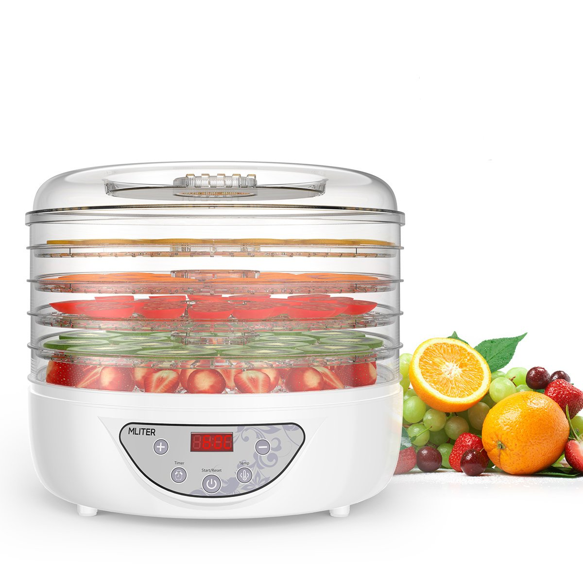 Mliter 5 Stackable Tray Digital Food Dehydrator Electric Food Preserver Vegetable Flower Snack Dryer with Countdown Function Time Control and Automatically Stop Digital Display Control Panel MLITERUK