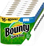 Bounty Quick-Size Paper Towels, White, 16 Family Rolls = 40 Regular