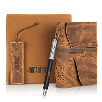 vintantico diario de piel auténtica con bolígrafo (marrón) Vintage, Bound, hecho a