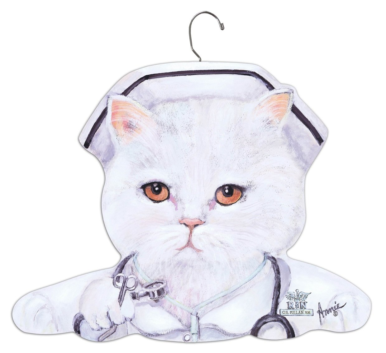Stupell Home Décor Nurse White Cat Hanger, 17 x 0.4 x 11, Proudly Made in USA