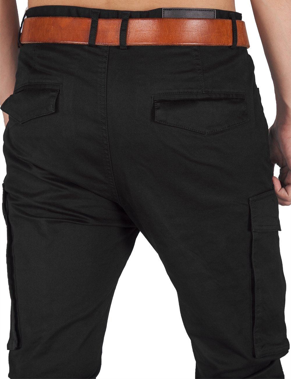 ITALY MORN Men Chino Cargo Jogger Pants Casual Twill Khakis Slim fit Black (S, Black) by ITALY MORN (Image #6)
