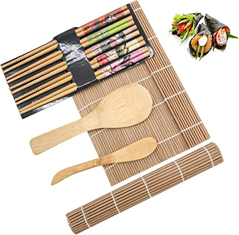 1 Rice Spreader and 5 Pairs Chopsticks Natural Bamboo Sushi Kit Maker,Festival Gift Weiquanji Sushi Making Tools,Sushi Tools for Beginner Included 2 Sushi Rolls Mats 1 Rice Paddle
