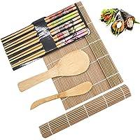 Sushi Making Kit, 100% Natural Bamboo Sushi Mat, Ideal beginner's Sushi Tools, Including 2 Bamboo Rolling Mats, 5 Chopsticks, 1 Rice Paddle, 1 Bamboo Knife for Home DIY Sushi