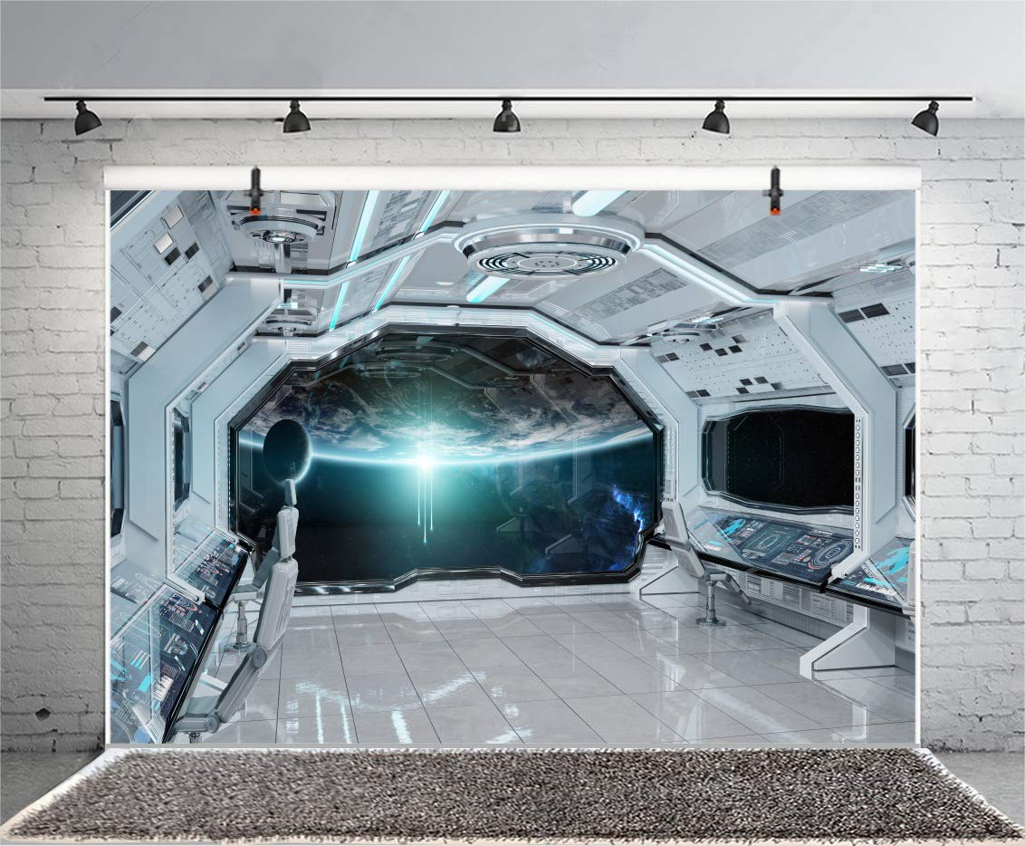 Yeele 8x6ft spaceship backdrop spacecraft space station interior exploring future background for photography universe planet kid boy girl portrait photo