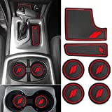 Auovo Anti dust Mats for Dodge Charger 2015 2016 2017 2018 2019 2020 Accessories Custom Fit Cup Holder Liners Mats(6pcs/Set, red)