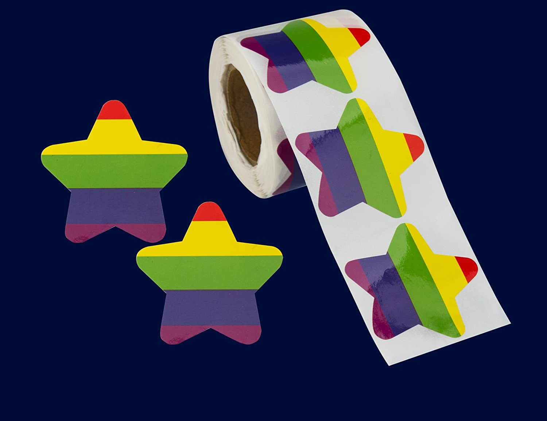250 Gay Pride Rainbow Star Stickers on a Roll