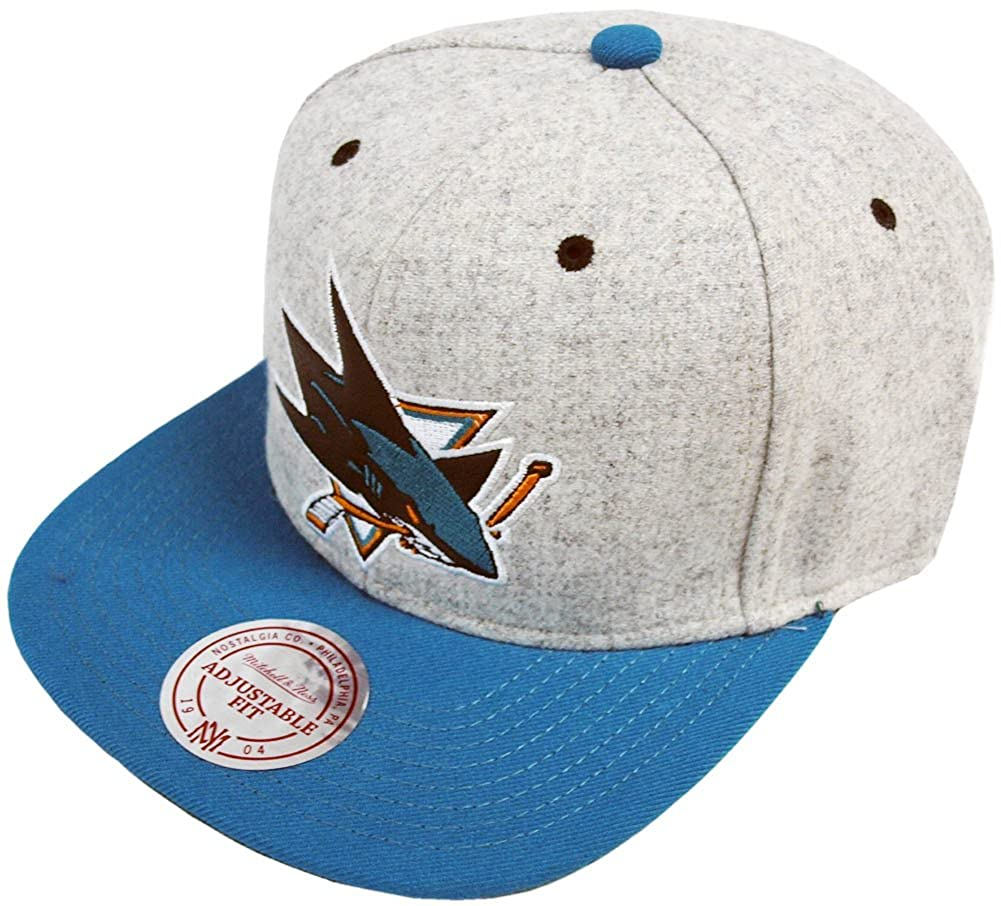 low priced a0b17 911d4 Mitchell   Ness San Jose Sharks Melange Flannel EU912 Snapback Cap Basecap   Amazon.co.uk  Clothing