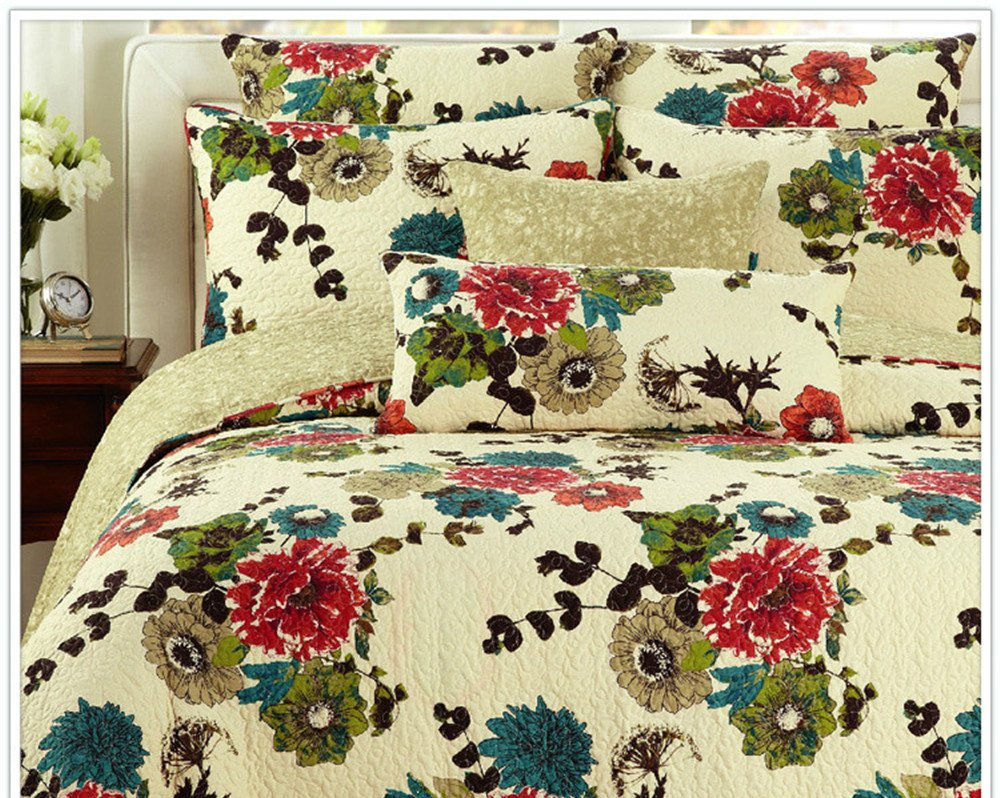 Cotton Floral Spring Country Garden Reversible Bedspread Quilt Set