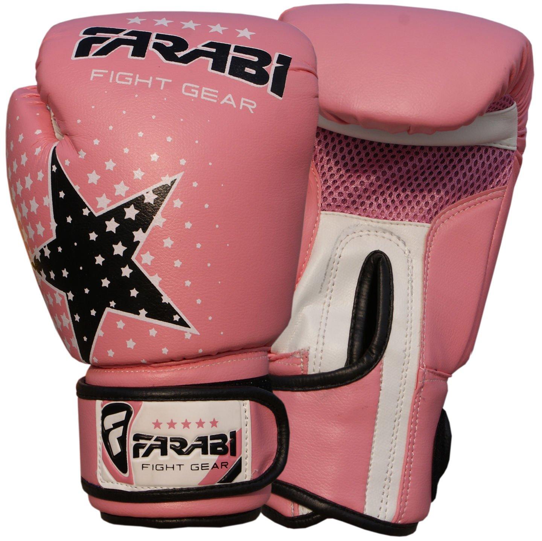 Kids boxing gloves junior boxing gloves junior MMA Muay thai kickboxing and punching bag mitts 6 oz, Pink Farabi Sports Star 6-ozblack