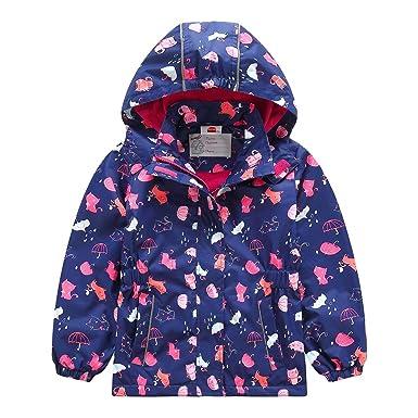 b5b1709b14439 Lau's Manteau Coupe-Vent Fille imperméable Blouson de Pluie Enfant Veste  avec Doublure Bleu foncé