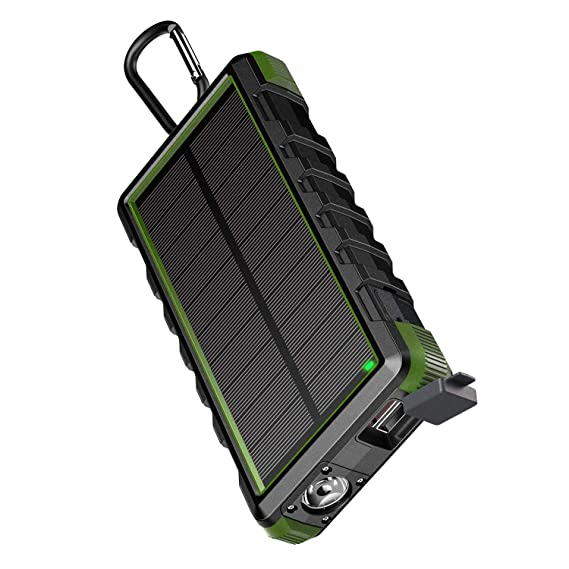 competitive price 2566a d5431 EasyAcc 24000mAh Solar Power Bank Rugged Waterproof Portable Charger with  6A Dual Input and QC Output - Black and Green
