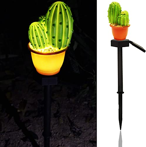 Garden LED Path Lights,Solar Night Lights Cactus Shape Solar Powered Decoration Lawn Lamp-Waterproof Three-Headed Cactus