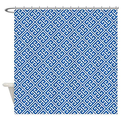 "CafePress Cobalt Blue Greek Key Pattern Decorative Fabric Shower Curtain (69""x70"")"