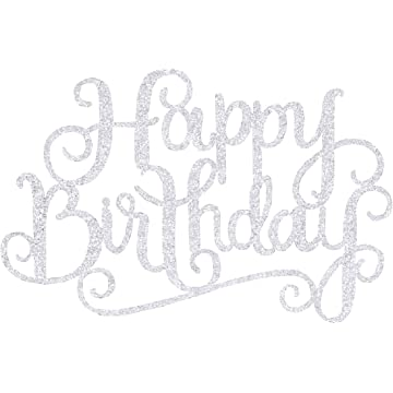 Amazon Com Happy Birthday Cake Topper Glitter Letters Shining Flags