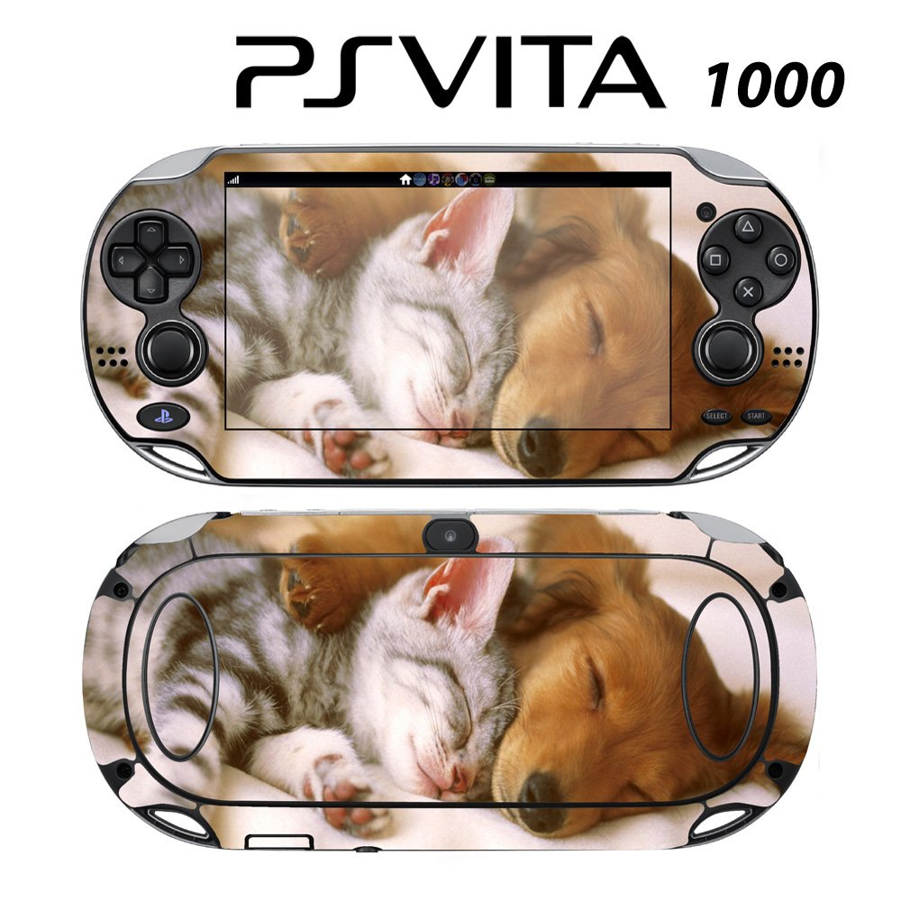 Decorative Video Game Skin Decal Cover Sticker for Sony PlayStation PS Vita (PCH-1000) - Sleeping Puppy Kitty
