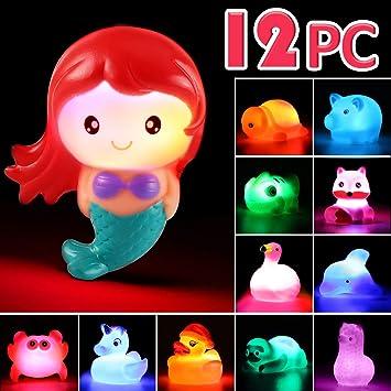 Juguete de Baño Laxdacee, Pack de 12 Animales con Luz, Juguetes de ...