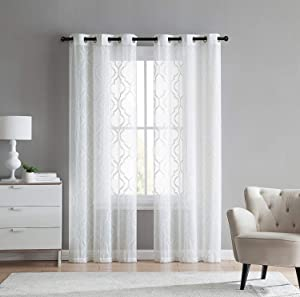 VCNY Home 2 Pack Charlotte Embroidered Quatrefoil Trellis Semi Sheer Curtain Panels - Assorted Colors & Sizes (84 in. Length, White)