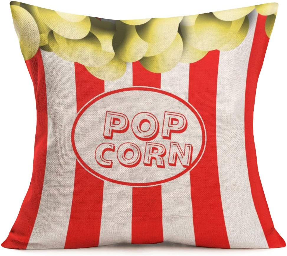 Amazon Com Smilyard Movie Theater Time Throw Pillow Covers Cotton Linen Popcorn Old Fashioned Icons Decorative Pillowcase Red And White Stripe Cushion Case Cover Home Decor 18x18 Inch Popcorn 01 Home Kitchen