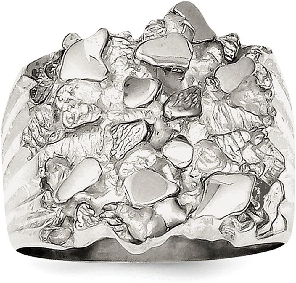 Sterling Silver Mens Nugget Ring