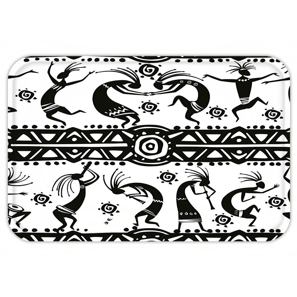 VROSELV Custom Door MatTribal Ethnic African Aztec Dance with Geometrical BorderTriangleRound SwirlArt Black and White