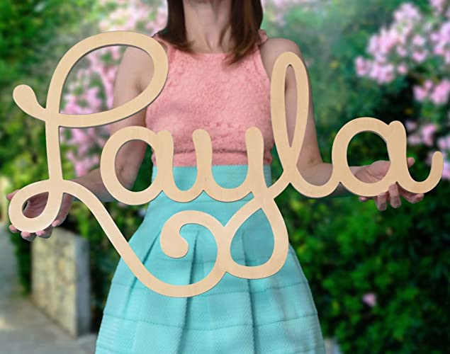 custom personalized wooden name sign 12 55 wide layla font letters baby name
