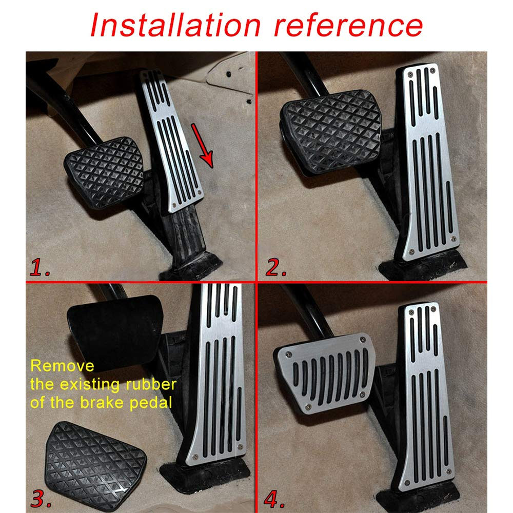 Tuqiang Car Accelerator Brake Foot Pedal Cover Non-Slip Aluminium Alloy for 3 Series 5 Series 6 Series 7 Series X3 X5 X6 Z4