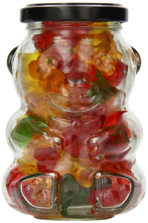 Nakpunar 1 pcs 9 oz Glass Bear Jars with Black Lid for Honey, Candies, Piggy Banks (1, Black)