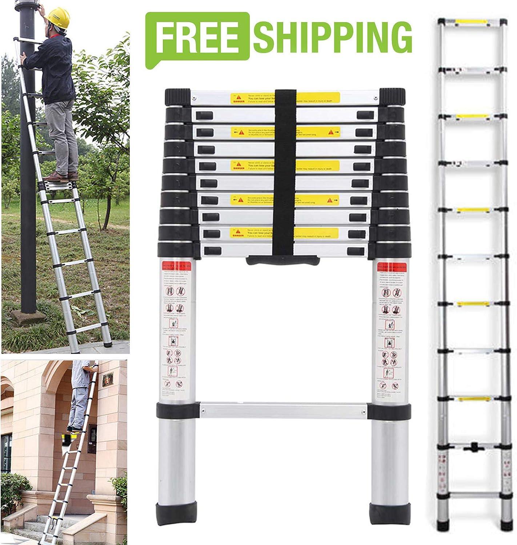 Escalera multiusos de aluminio de 3,2 m, telescópica, capacidad de 330 libras, plegable, portátil, compacta, ahorra espacio, suelto, escaleras, recta, antideslizante, pies de goma: Amazon.es: Bricolaje y herramientas