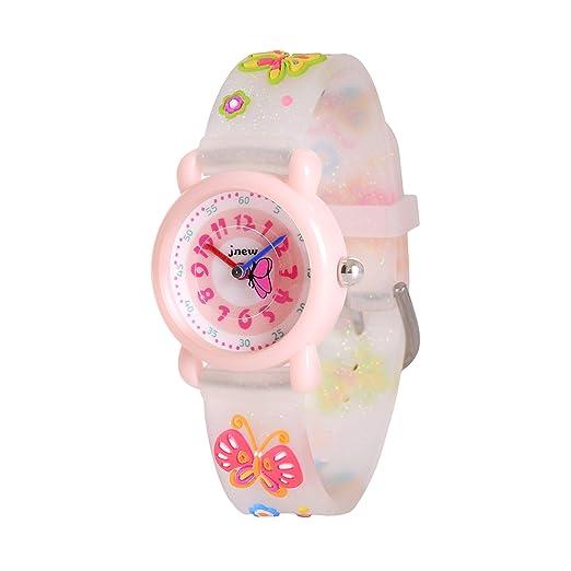 WOLFTEETH Starter Watch Niña Reloj analógico para niñas Reloj Resistente al Agua día Escolar Deporte al Aire Libre Reloj Mariposa Correa para la Correa ...