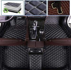 SureKit Custom Car Floor Mats for Hyundai Genesis 2009-2017 Luxury Leather Waterproof Anti-Skid Full Coverage Liner Front & Rear Mat/Set (Black Beige)