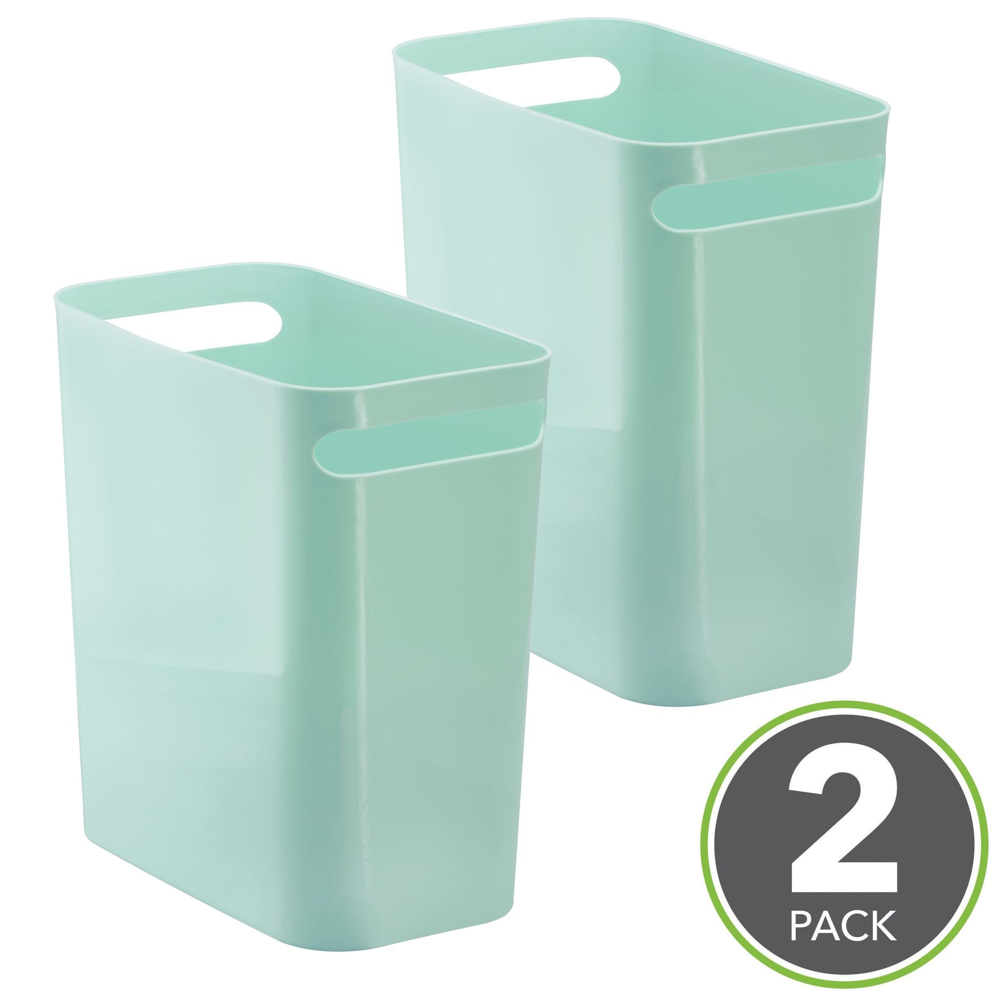 mDesign Slim Rectangular Small Trash Can Wastebasket, Garbage Container Bin with Handles for Bathrooms, Kitchens, Home Offices, Dorms, Kids Rooms — Pack of 2, 12 inch high, Plastic, Mint