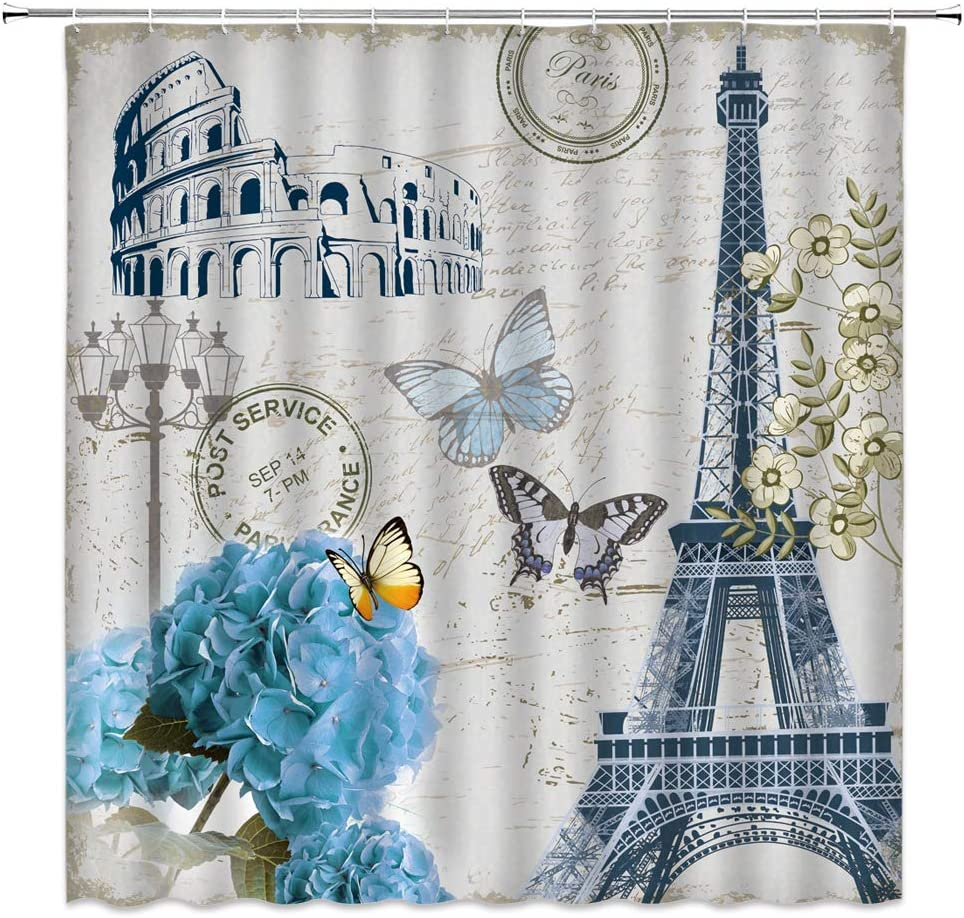 Eiffel Tower Shower Curtain Vintage Flower Butterfly Paris Blue Hydrangea Floral Roman Arena Retro Stamp Green Leaves Spring Plant Pattern Decor Fabric Bathroom Curtain Set 70x70 Inch with Hooks