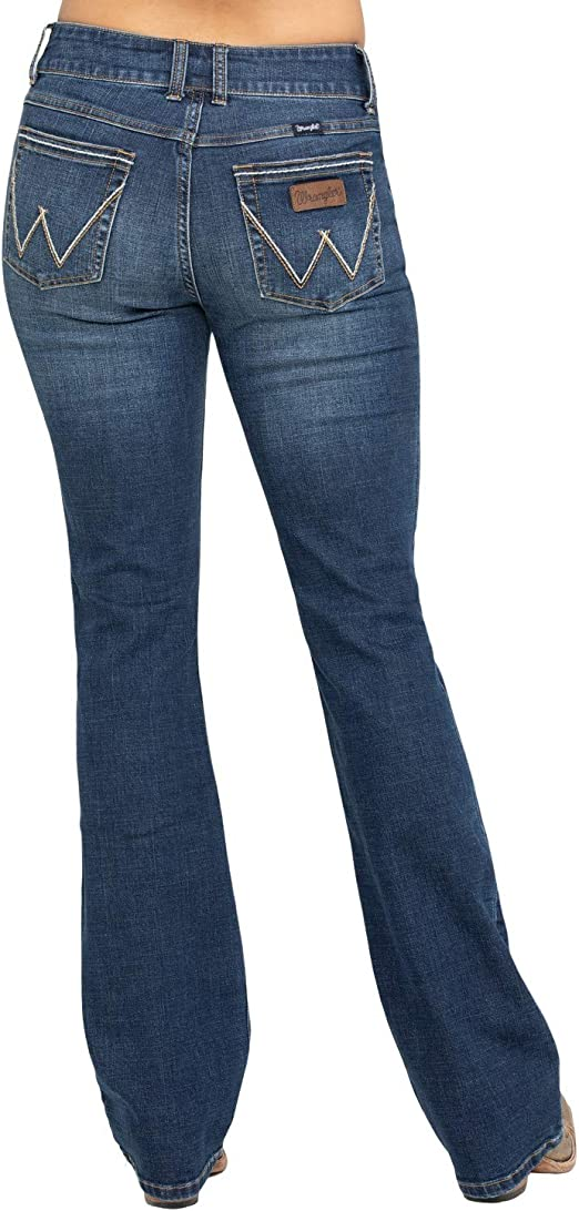 Wrangler Apparel Womens Ladies Mid Rise Retro Mae Jeans 7x34 Blue at Amazon Women