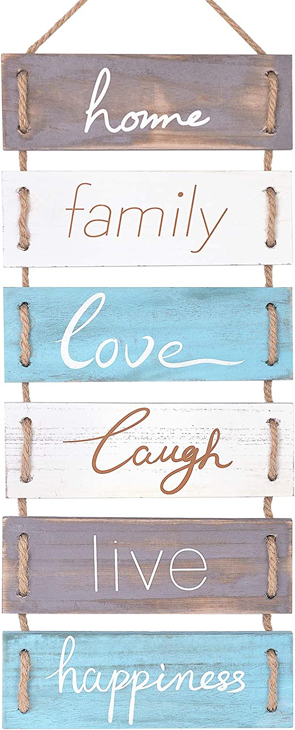 Soyo Rustic Wooden Wall Sign Hanging Wall Signs (Home, Family, Love, Laugh, Live, Happiness) Wood Wall Decoration for Home Decor