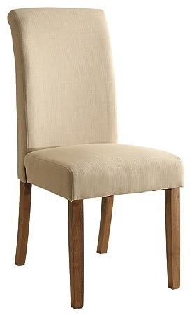 SixBros - Silla de comedor de madera de haya y tela de color beige, 6018D/2152