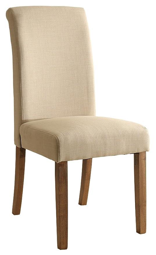 SixBros - Silla de comedor de madera de haya y tela de color beige, 6018D