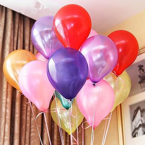 Vegbirt 100 Globos de Fiesta de Colores Diversos con bomba,coloridos globos de látex de primera calidad decoración de la boda del globos para Bodas, ...