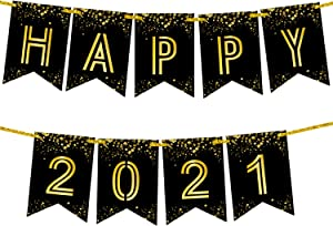 Happy 2021 Banner For New Years Eve Party Supplies 2021 - No DIY Required | Shiny Foil Happy New Year Sign | Black and Gold for New Years Eve Decorations | NYE Décor and Graduation Decorations 2021