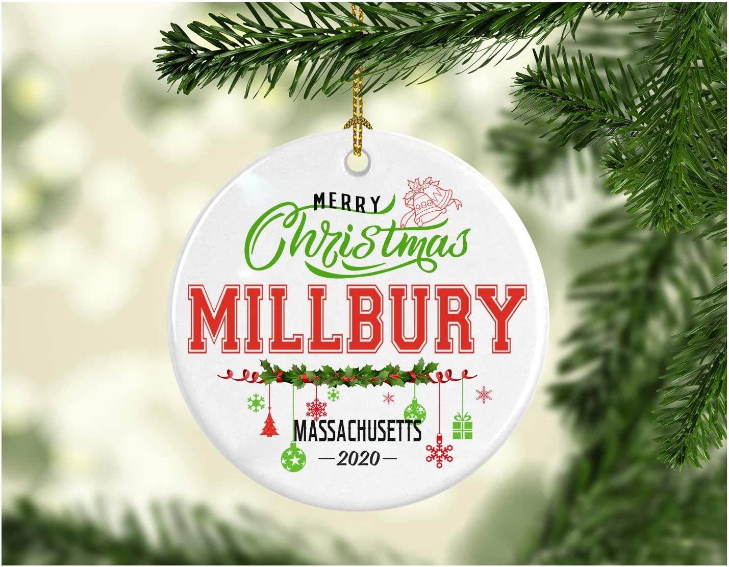 Christmas Decorations Tree Ornament - Gifts Hometown State - Merry Christmas Millbury Massachusetts 2020 - Gift for Family Rustic 1St Xmas Tree in Our New Home 3 Inches White
