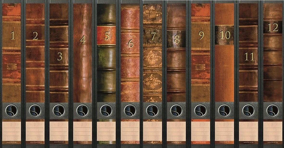 File Art Motiv Folio f/ür 12 breite Aktenordner als Kollektion FA-AJ311+312+313 Ordnerr/ücken Design Etiketten