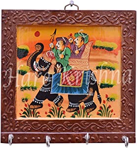 Hare Krishna Decorative Hand Painted Wooden 4 Hook Key Holder 6 x 6 Inches