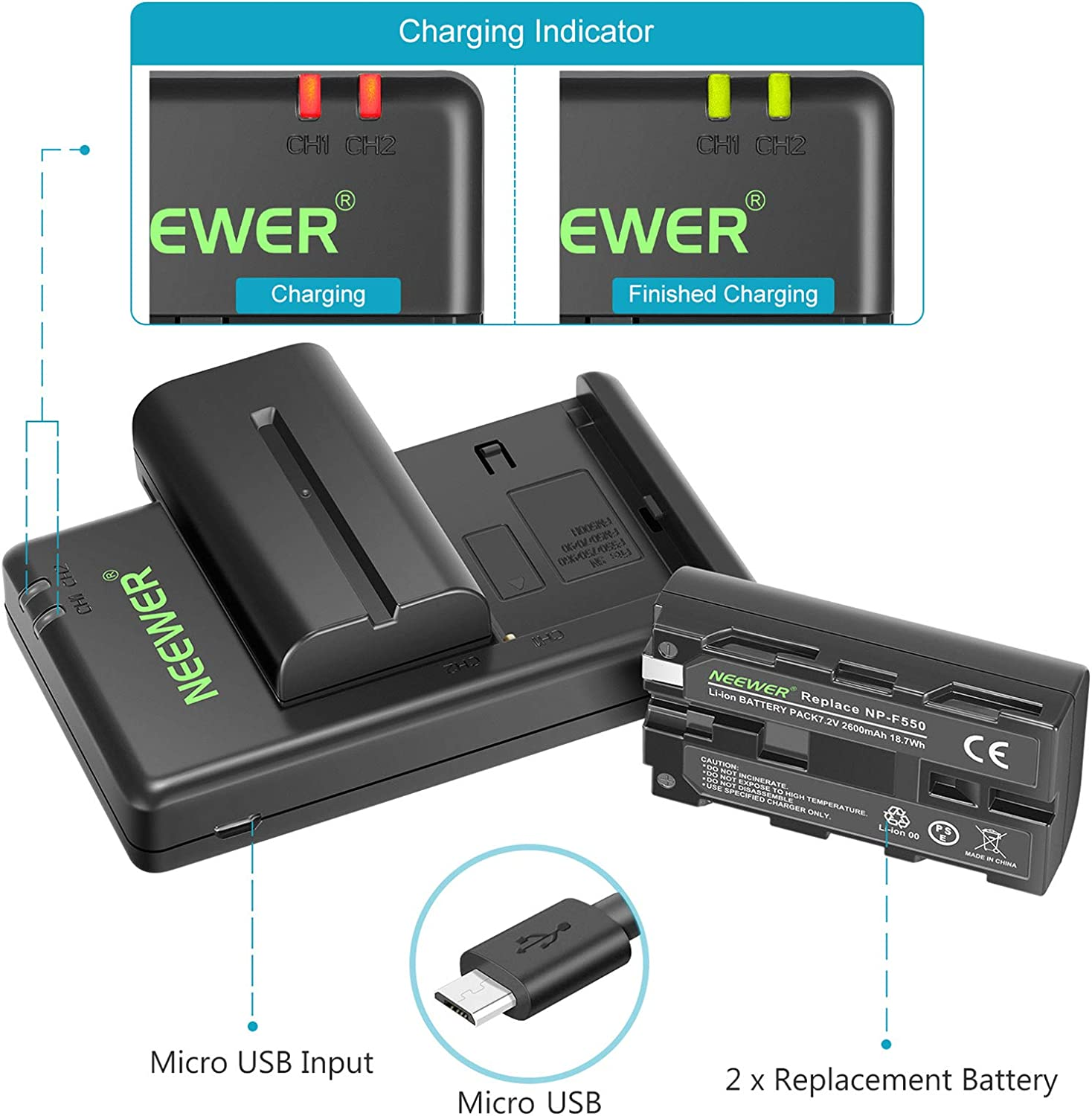 FB NP-F550 Camera Battery Charger 2-Channel Micro-USB Input for Sony J4I6