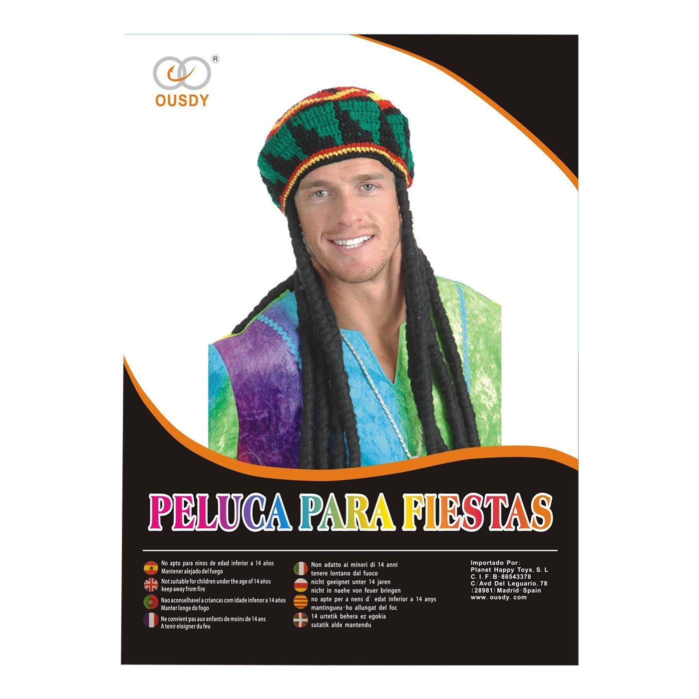 Ousdy Peluca Rasta con Gorro 691738 - Negro: Amazon.es: Juguetes y juegos