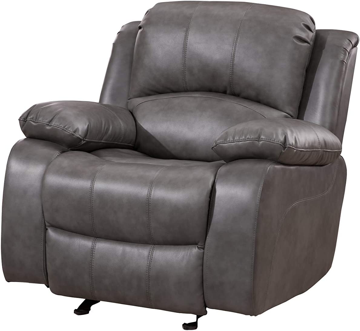 Betsy Furniture Bonded Leather Reclining Sofa Loveseat Glider Chair in Multiple Colors, 8018 (Grey, Glider Chair)