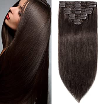 Amazon 16 inch 90g clip in remy human hair extensions full 16 inch 90g clip in remy human hair extensions full head 8 pieces set long length pmusecretfo Choice Image