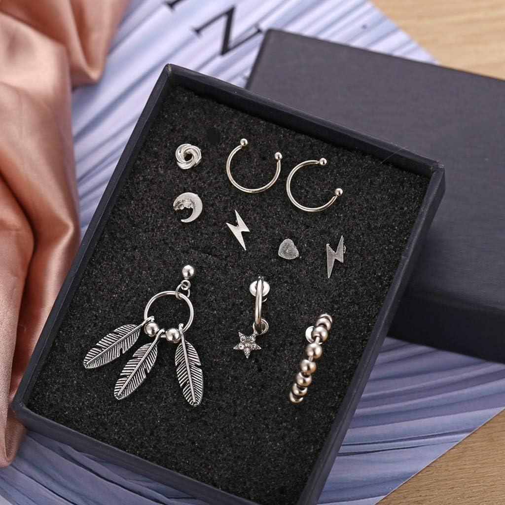 10pcs Hoop Earrings Set for Women Cnebo Vintage Ethnic Stud Dangle Earrings Leaf Acrylic Acetate Board Shell Earrings Moon Ear Studs Jewelry Set