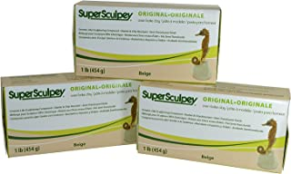 product image for Super Sculpey Original Beige Oven-Bake Clay Ceramic-Like Sculpturing Compound - Semi-Translucent Finish, Shatter and Chip Resistant – 1 LB, Pack of 3